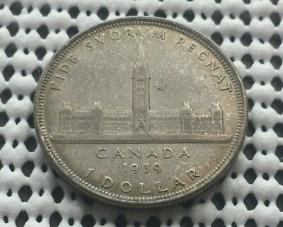 1939 ❀ Toned Nice Detail ❀ Silver Dollar Canada King George VI