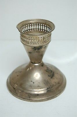 Vintage Sterling Silver Weighted Pierced Candle Holder - 186g