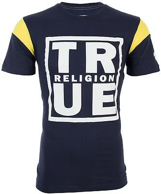 TRUE RELIGION Mens T-Shirt SQUARE FOOTBALL Navy Yellow White Print $79 Jeans NWT