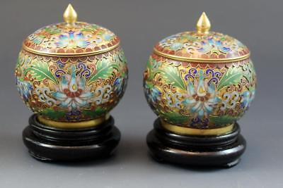 Pair Chinese Republic Period Cloisonne & Enamel Cabinet Covered Jars w/ Stands
