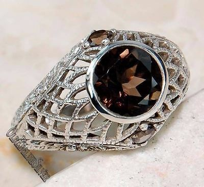 1.5CT  Smoky Topaz 925 Sterling Silver Art Deco Filigree Ring Jewelry Sz 8