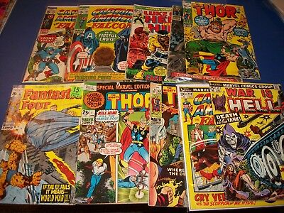 Silver and Bronze Age Comics lot of 11 Readers Captain America War Thor