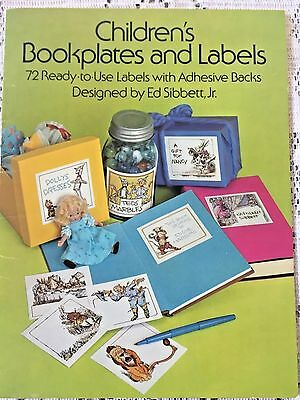 "Vintage ""Children's Bookplates and Labels"" Booklet by Ed Sibbett, Jr. 72 Labels"