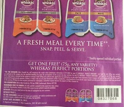 Lot Of Free Whiskas Perfect Portions Product Coupons
