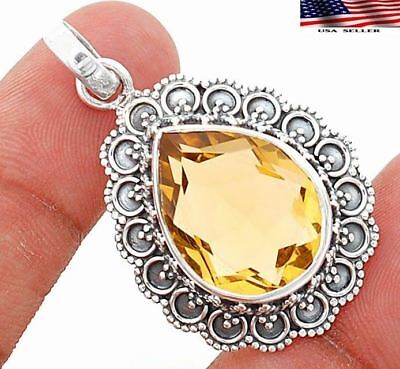 14CT Padparadscha Sapphire 925 Solid Sterling Silver Detailed Design Pendant