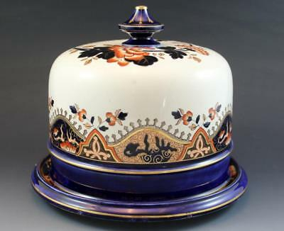 1890s English Porcelain Covered Cheese Dish Dome Imari Style Pattern No Reserve