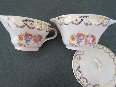Vintage 3 Pc Set Royal Oxford Rose Pattern 22K Gold Cream and Covered Sugar