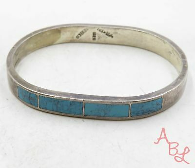 Sterling Silver 925 Latch Bangle Blue Turquoise Bracelet 7'' (33.9g) - 575173