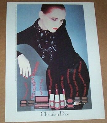 1980 vintage ad - Christian DIOR Make-up cosmetics girl face print Advertising