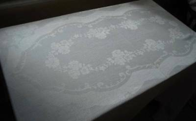 Antique Linen Damask Tablecloth Ribbon Swirls & Poppies Wide Hemstitch 82""