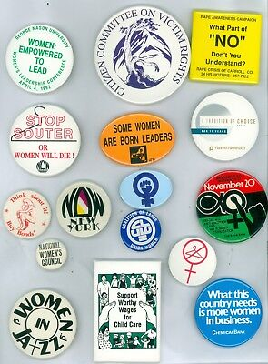 16 Vintage 1970s-90s Women's Liberation Pinback Buttons Women: Empowered To Lead