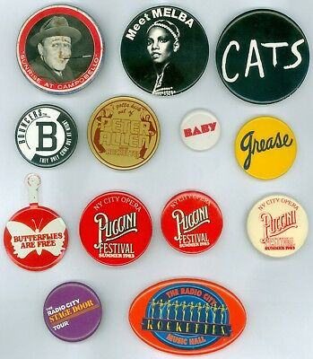 12 Vintage 1940s-80s Broadway Musical NYC Opera Advertising Pinback Buttons FDR