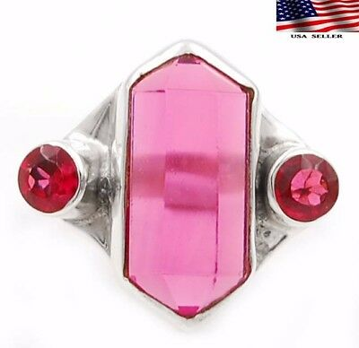 4CT Rubellite Tourmaline 925 Solid Sterling Silver Ring Jewelry Sz 7