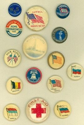 15 Vintage 1914-18 WWI US  Homefront Campaign Pinback Buttons