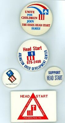 5 Vintage 1970s Head Start US Government Program Advertising Pinback Buttons