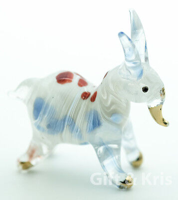 Figurine Animal Hand Blown Glass Goat No Painted w/ Painted Gold Trim - 001