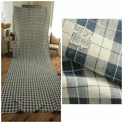 Antique HUGE French country indigo blue old PLAID faded primitive darns 4.7YARD