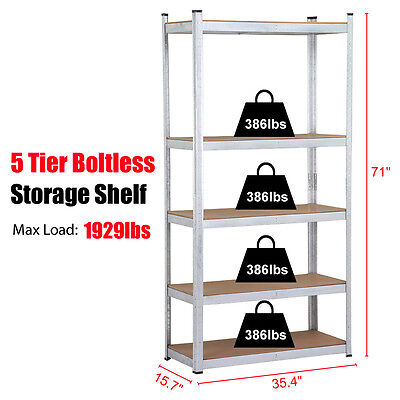 5 Level Storage Shelving Rack Adjustable Shelves Garage Steel Metal Shelf Unit