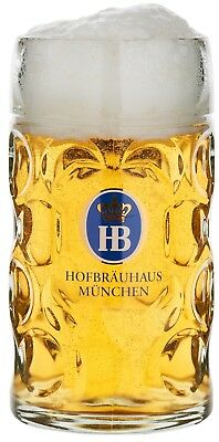 Hofbrauhaus Munchen Munich German Glass Dimple Beer Mug .5L Germany