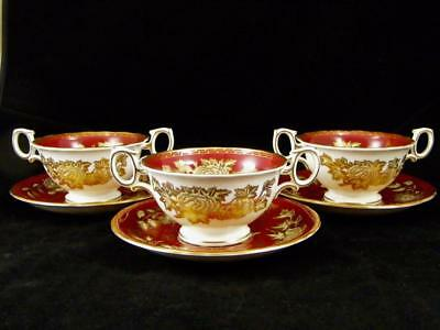 """3 Wedgwood """"ruby Tonquin"""" Creme Soup Bowls And Under Plates"""