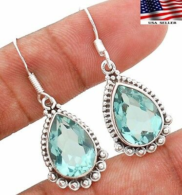 "10CT Aquamarine 925 Solid Sterling Silver Earrings Jewelry 1 1/3"" Long"