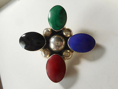 """Large Sterling Silver Cross w/ 4 Colors Vintage Button 1-5/8"""" 925 Mexico"""