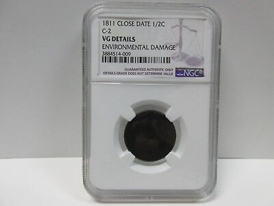 1811 C-2 NGC VG DETAILS Close Date Classic Head Half Cent Coin 1/2c