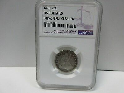 1870 Seated Liberty Quarter- Fine Details Improperly Cleaned