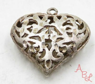 Sterling Silver Vintage 925 Filigree Puffed Heart Pendant (8.9g) - 575153