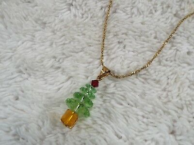 Goldtone Green Crystal Bead Christmas Tree Pendant Necklace (A42)