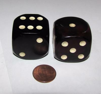 "Vintage Pair of Oversize Bakelite Dice 1-1/8"" square"