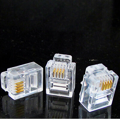 100 pcs  NewRJ11 Modular Plugs 6P4C For Solid Connectors