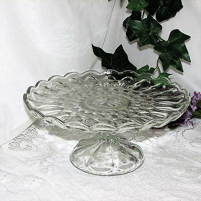 Vintage Anchor Hocking Glass Fairfield Cake Stand Pedestal Plate Server Clear