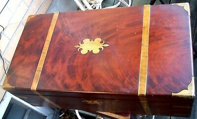 Scottish Victorian Wood Campaign Desk Signed Linlithgow Mechanics Institute 1852