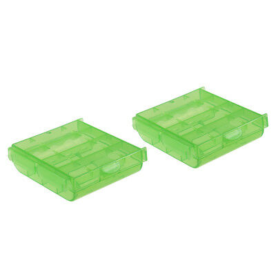 2pcs Portable Battery Storage Case Holder Compartment Green for AAA/AA Batteries