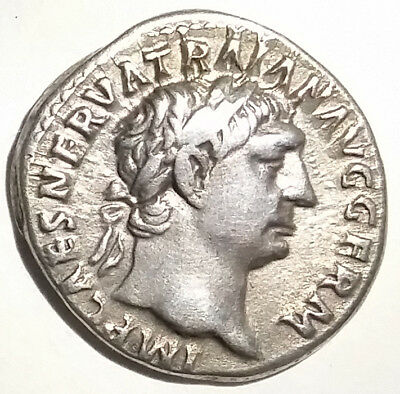 Ancient Roman Empire Silver Coin Trajan 98-117 AD Vesta Goddess of Public Health