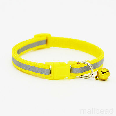 Pet Dog Puppy Cat Kitten Soft Glossy Reflective Collar Safety Buckle Bell