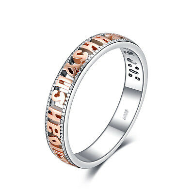 Two-Tone Wedding Ring Band Russian 925 Sterling Silver 18k Rose Gold  Size 7