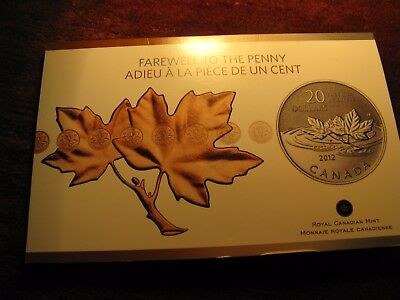 Canada $20 Silver Coin 2012 Farewell To The Penny In RCM Pack.