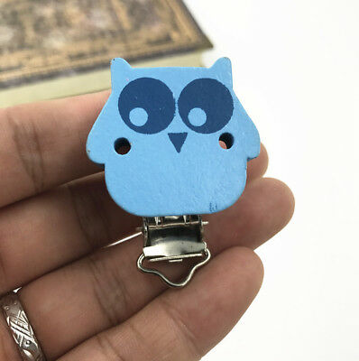 5pcs Baby Pacifier Clips owl Blue Wood Metal Holders 4.5cm x3.3cm