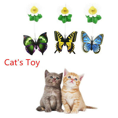 Funny Soft Pet Dog Cat Electric Rotating Butterfly Bird Rod Wire Teaser Play Toy