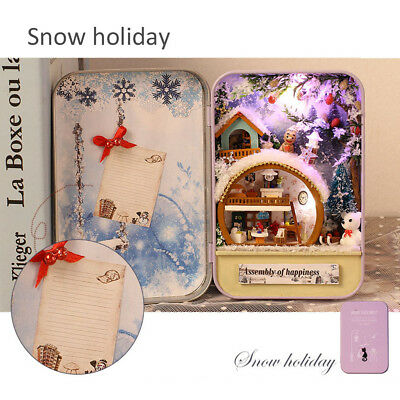 DIY Dollhouse Miniature 3D Snow Holiday Doll House Box Theatre Kid Toy Gift LED