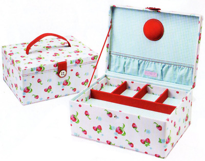 NEW | LC Designs 82350 Strawberry Print Large Sewing Storage Box 12 x 24 x 17cm