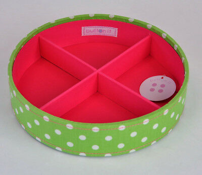 Button It 82305 White Polka Dot Print on Green Sectioned Stacking Tray/Organiser