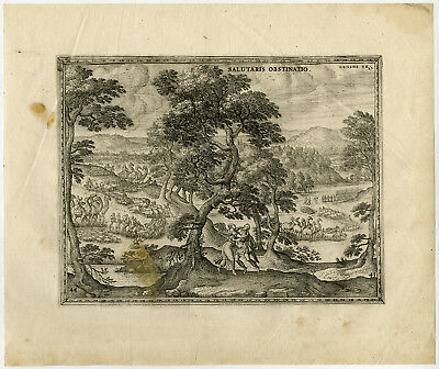 Rare Antique Master Print-JACOB-WRESTLING-ANGEL-LIVESTOCK-van der Borcht-1653