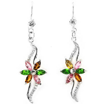 Natural Multi Color Tourmaline & White Cz Sterling 925 Silver Flower Earring