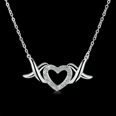 Fashion Women Heart 925 Silver Plated Pendant Necklace Chain Jewelry