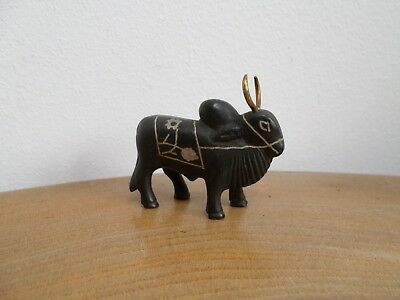 VINTAGE MINIATURE INDIAN BLACK METAL BRAHMA BULL FIGURINE silver inlay