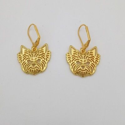 Yorkshire terrier 3D gold earring ear ring dog collectible N1