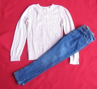 RIVER ISLAND Girls Jeans & H&M NEW pink jumper age 4 5-6